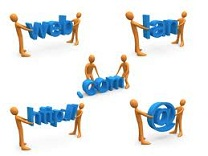 web hosting terminology, abstract figures holding hosting terms signs