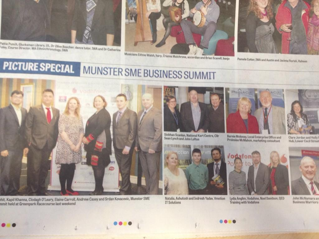 VMotion IT Solutions at Munster Business Summit. Limerick Leader coverage